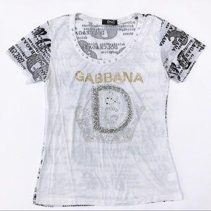 Dolce & Gabbana D&G *Rhinestone* Embellished Top M